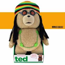 "Ted 16"" Plush With Sound And Moving Mouth In Rasta Outfit"