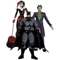 Batman Hush Action Figure Box Set Stealth Batman, Joker & Harley Quinn 17 cm